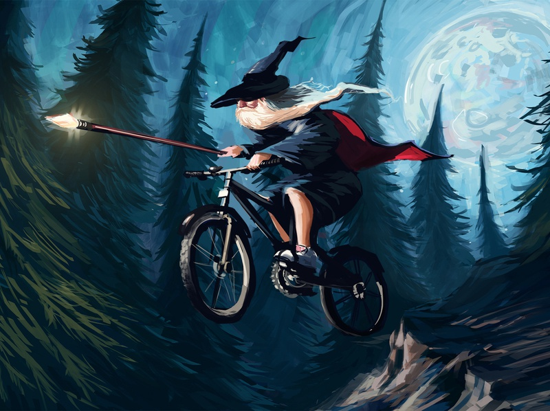 Wizard on a Bike fantasy digital painting whimsical illustration
