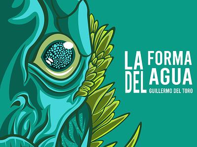 Forma del agua #delToro tipografía design cine ilustración digital personajes