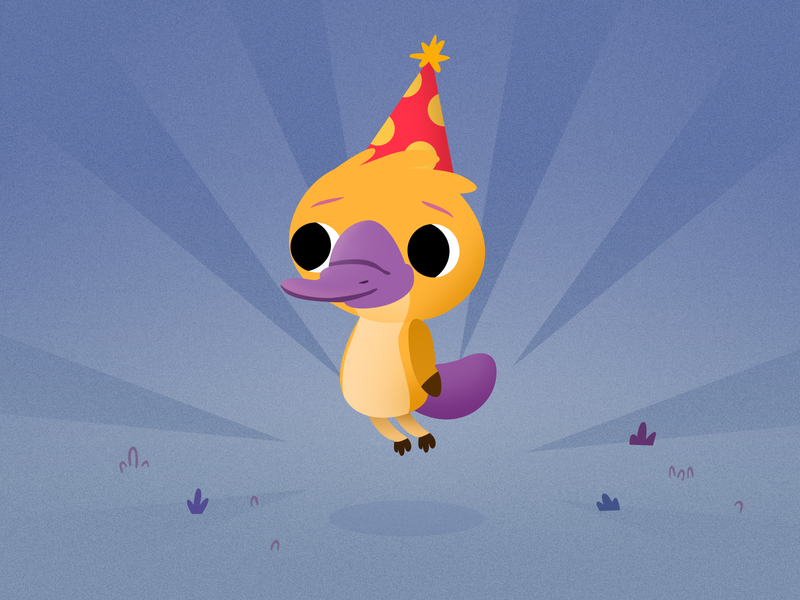 Little Birthday Platypus character design kids game australia cute mammals australian animals platypus illustration
