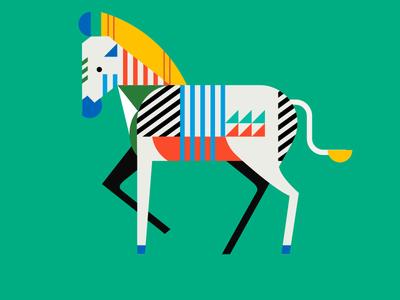 Geometric Zebra Coloured color design zebra shapes illustration graphic design geometric art animals