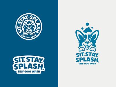 Sit.Stay.Splash Branding corgi dog illustration vector logo design branding logo graphic design