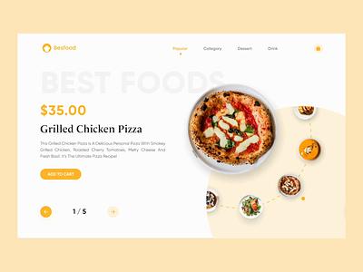 UI Interaction - Food Ordering Website food order animation interaction uiux elegant web design minimal clean design ui design ui
