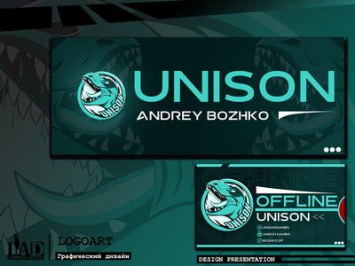Design presentation twitch channel (Unison Games) graphic design vector lettering логоарт превью illustrator графика illustration logo design