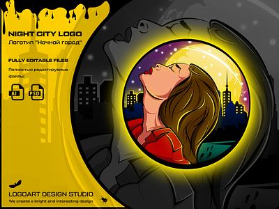 Presentation of the Night City logo logos illustration логоарт graphic design графика illustrator vector logo design