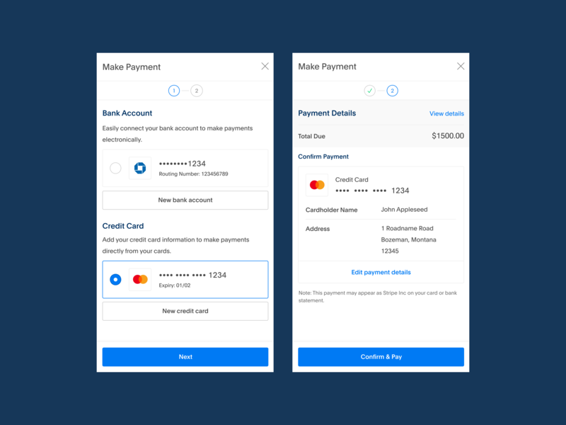 Make Payment simple ux checkout mobile design product cards app blue ui