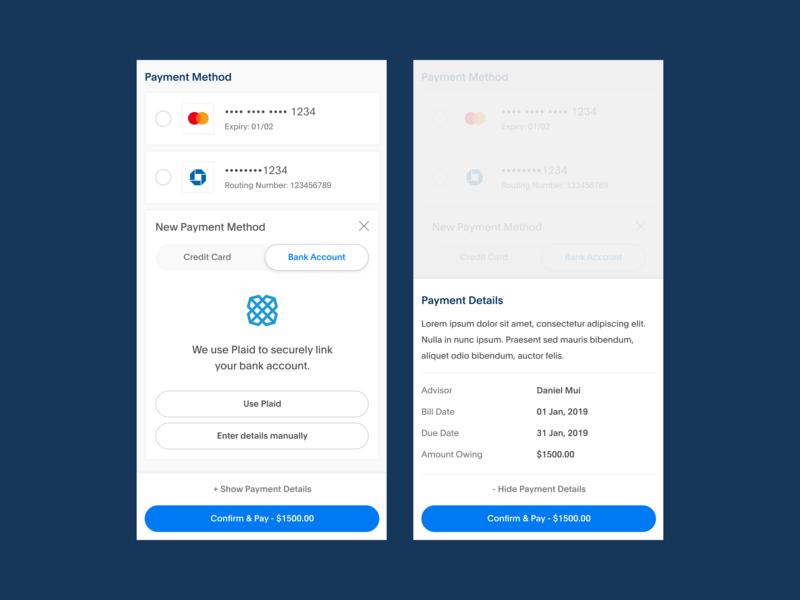 Payment Details finance minimal flat web ux design mobile app blue ui