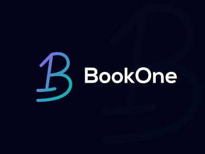 BookOne ll Modern B Letter Logo logo design modern b letter logo design vector abstract b letter app icon art illustration colorful logo brand identity b logo 2d letter logo b 1 logo logo branding modern logo b letter logo