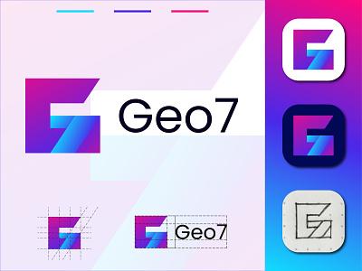 Modern G 7 Geometric Logo app logo design illustration geometry creative g7 summit group of seven vector identity icon seven g letter g mark gradient logo g 7 logo g logo modern logo branding g letter logo geometric logo