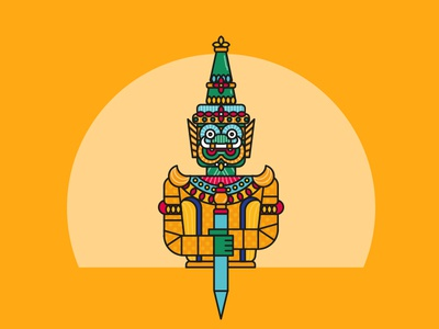 Thai warrior - Serie Thailand typography ui web flat app vector icon logo illustration god warrior thailand