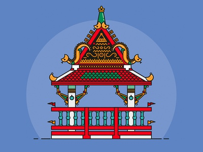 Temple Mini - Serie Thailand typography ui web flat app vector icon logo illustration dragon temple thailand