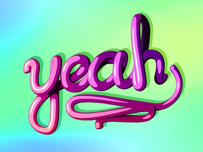 Yeah! lettering 3d cinema 4d cartoon