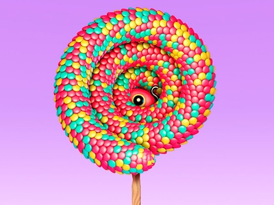 Candy Snake flat web icon snake animal 3d cinema 4d cartoon