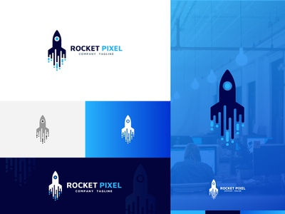 Rocket Pixel Logo Design Template graphicdesigner businesscards graphicdesign businesscard