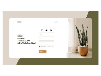 signup branding dailyui plants website ux web minimal ui design