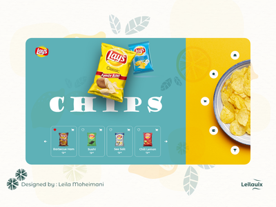 Chips Landing page landingpage uxdesign webdesigner productinterduceweb webuiuxdesign webdesigning webdesigns webdesign product page lays chips packet design chipsweb chips product design design ux branding website minimal ui
