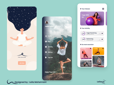 Yoga Application sport app ui minimal illustration art yoga illustration illustration illustration design design app activity feed menu design signup ui  ux ux app uxdesign application design application ui yoga pose yoga studio yoga app uidesign uiapp