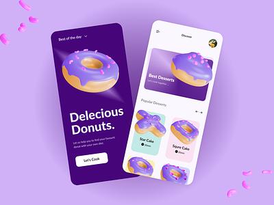 Donut Bakery UI Design Concept cooking bakery dessertapp cake minimal design 3d ui