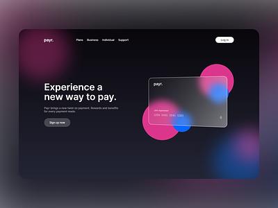 UI Exploration 3 - payr finance website ux ui