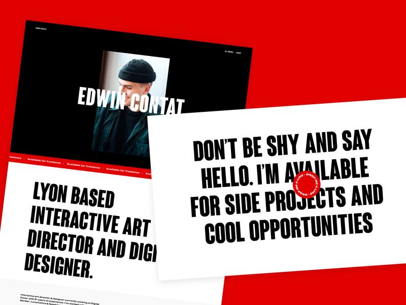 About page - Personal Portfolio black ux typography webdesign ui website type design
