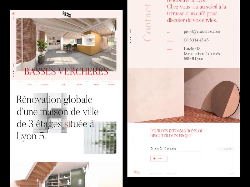 Craie craie - Architect & Design Studio interior designer interior design architecture architect typography webdesign ui type website design