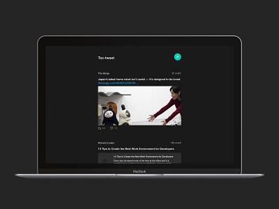Toc-Tweet desktop dark mode twitter feed ui  ux interface