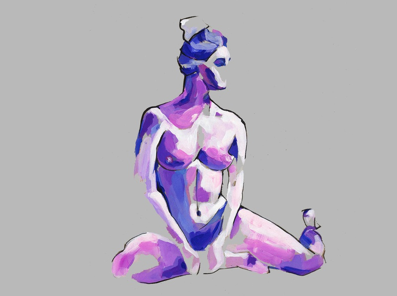 Nude yoga illustration hand illustration