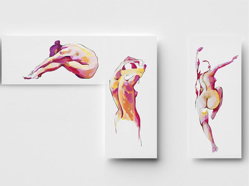 Nude warm girls artwork expresion colors art illustration hand illustration