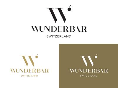 WUNDERBAR brand logo branding negative space logo negativespace typography logo hidden typographic drink beverage manufacture producing luxury perfume food cocktail bottled bar wonder cherry w