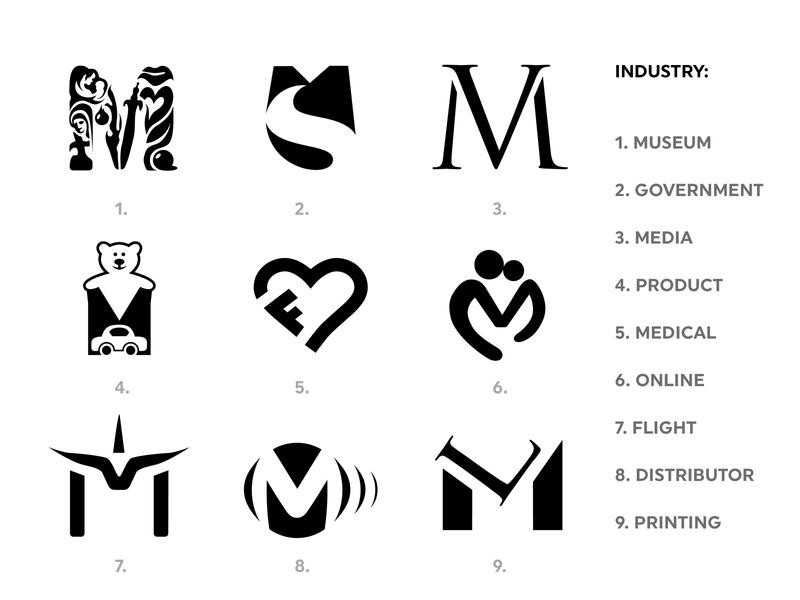 (M) monograms of companies... illustration branding typography identity hidden brand company logo negativespace initial monogram logotype logo mark m
