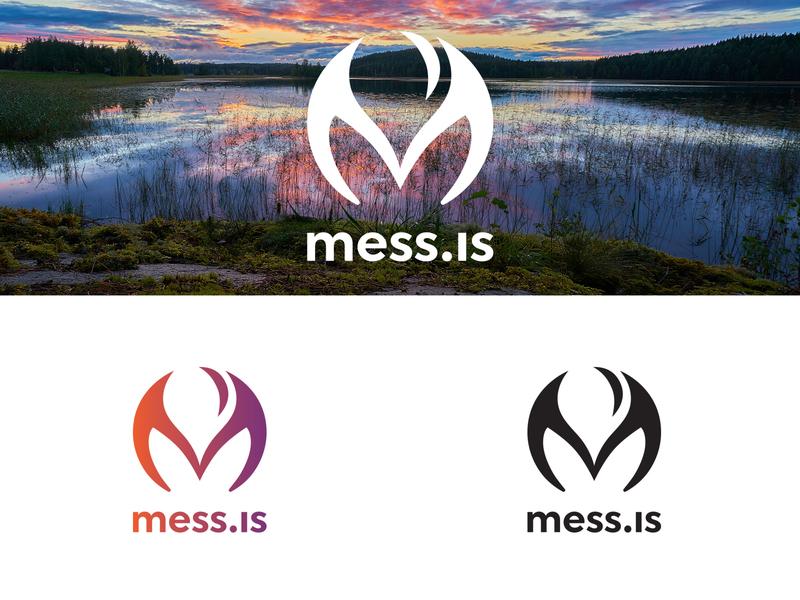 mess.is logo in Finland negative space logo negativespace logodesigner logodesign branding brand logotype logo adventure community green flower plant earth planet ecofriendly finland water drop m