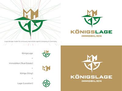 KÖNIGSLAGE ® LUXURY LOGO app icon emblem mark negative space logo negativespace hidden brand logo construction building agent realestate luxury royal gold compass crown location king