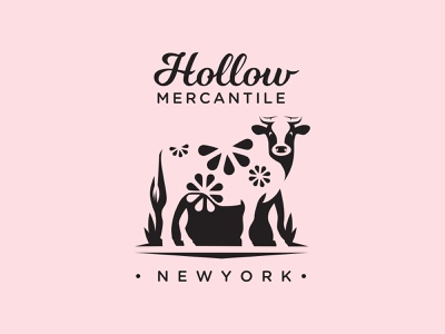 Hollow Mercantile animal new york logodesigner logodesign dairy cow brand logo design logotype logo