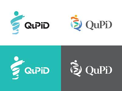 QuPiD hand typography protein man figure human app scientific medical identity brand logo