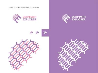 Dermpath Explorer texture initial letter monogram branding hidden negativespace dermatological pathologist medicine doctor identity brand logo