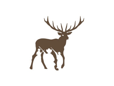 Hunterrace Peter Vasvari hunter terrace deer animal brown antler barrel positive and negative space concealed silhouette logo