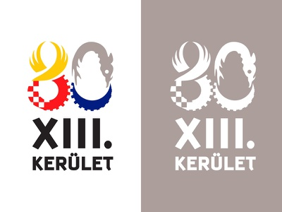 80 years of the thirteenth. district / 80 XIII. KERULET governmental national state municipality brand gear fish angel pinion wing 0 8