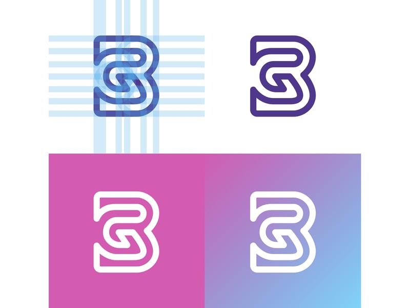 GB monogram character letter b g icon appicon vector branding brand ui typography logo hidden app gb monogram