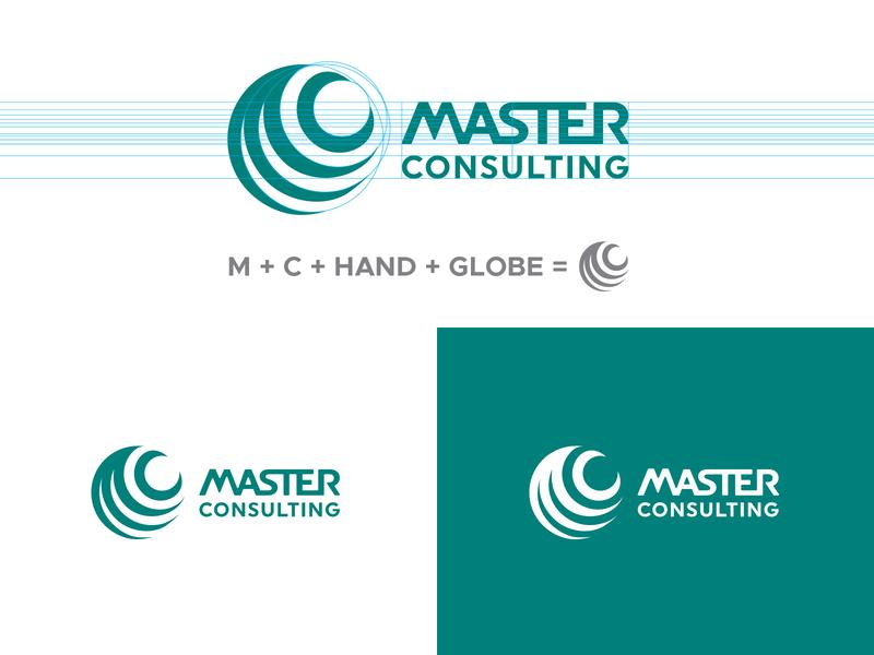 MASTER CONSULTING logo identity branding identity earth globe hand development payroll distributor logotype mark logo