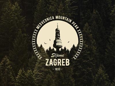T-Shirt desing for Medvednica mountain peak Sljeme tshirtdesign badge graphicdesign croatia zagreb adventure nautre vector print apparel design design illustration logo
