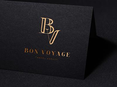 Bon Voyage luxury travel agency logo typeface typography mokcup logo customtype letterpress monogram logo lettering logotype