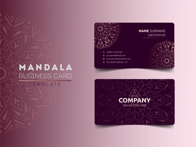 Mandala Business Card Template Design stationery identity corporate business card visiting card mandala template corporate abstract card design business card