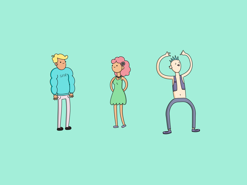 Rebound humans female male vector illustration characters art