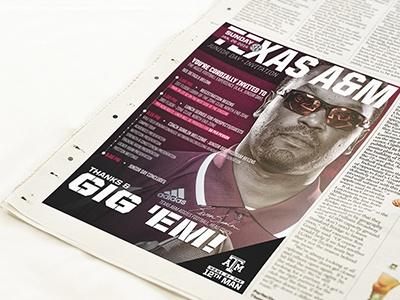 Texas A&M - Game Day & Event Invitations football aggies ncaa manziel sumlin nfl design poster print flyer invitation maroon