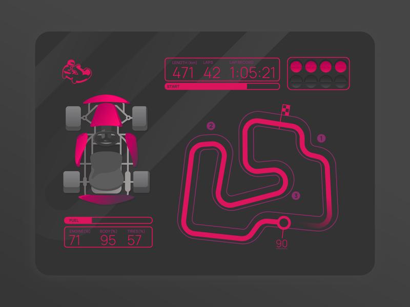 Karting stats logo concept turning semaphore start purple pink illustration ui top speed path race karting game stats
