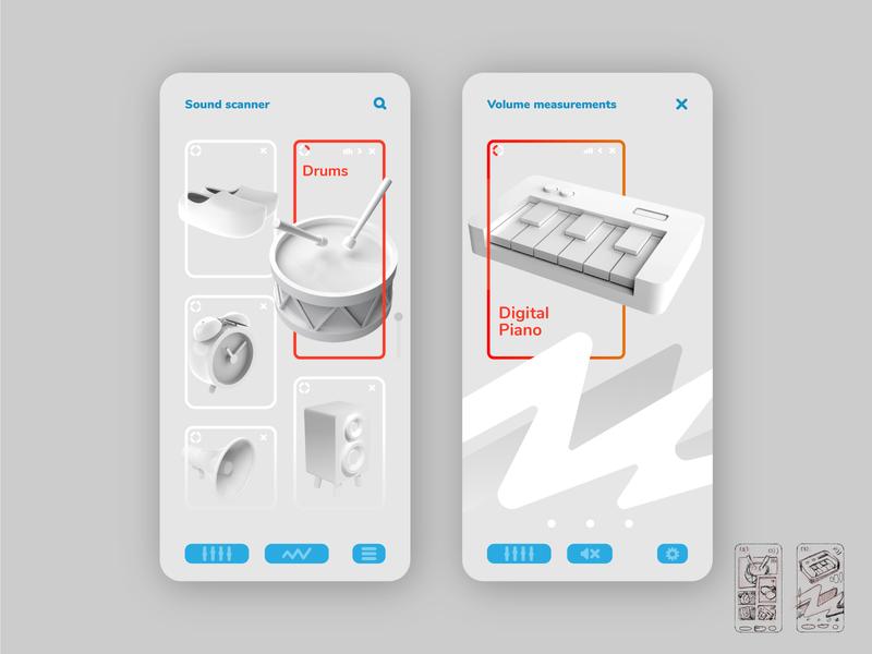 Sound detection app scanner music instrument sensor loud ui design app sound