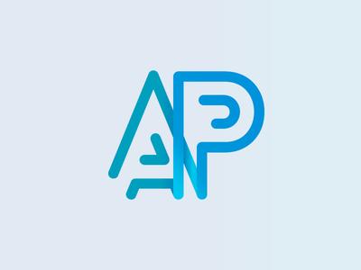 AP outline simple design blue logo