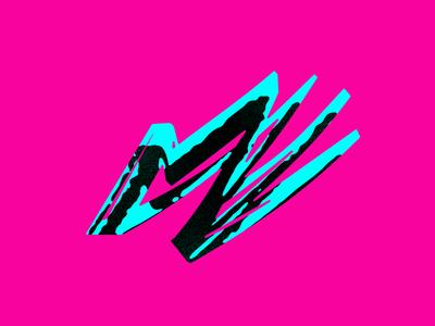 M logo handwritten shadow vibrant paint simple m logo