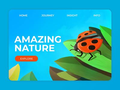 Nature - Ladybird simple explore enviroment webdesign leaf ui ladybird nature illustraion