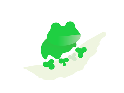 Green frog nature simple flat fun animal design green frog logo