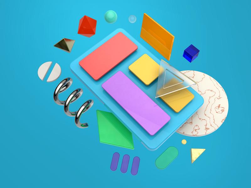 Creating app blue simple process shapes product concept ideas 3d